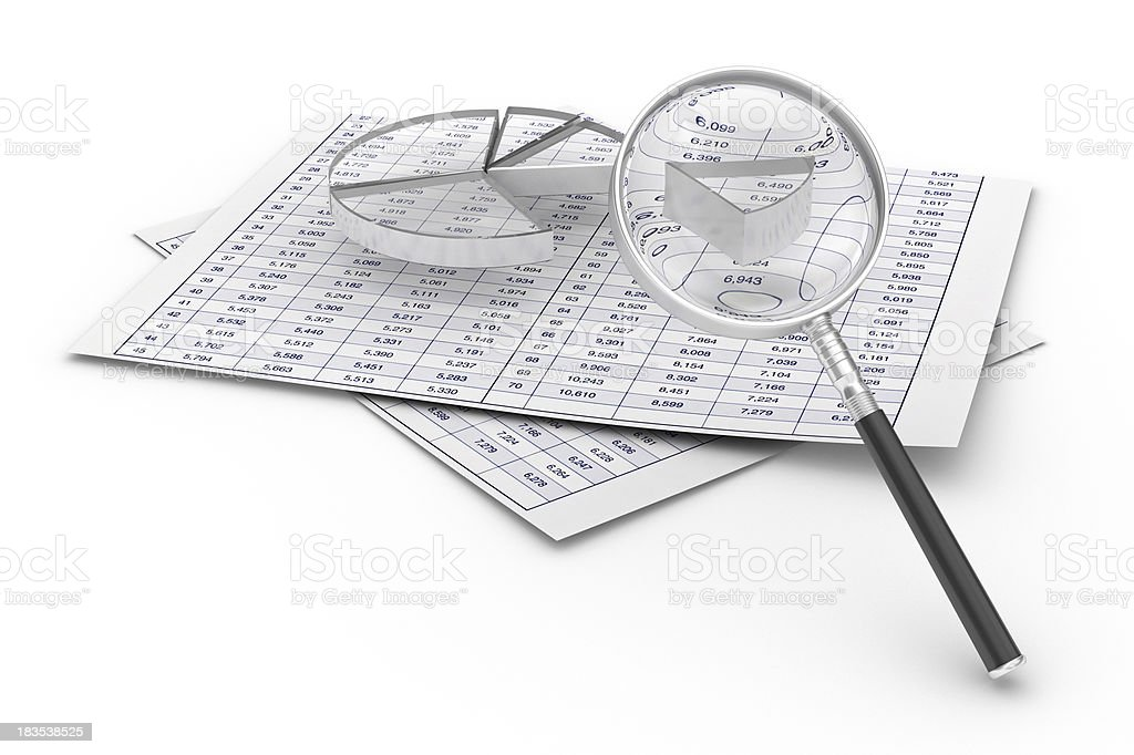 Diagram and Magnifying royalty-free stock photo