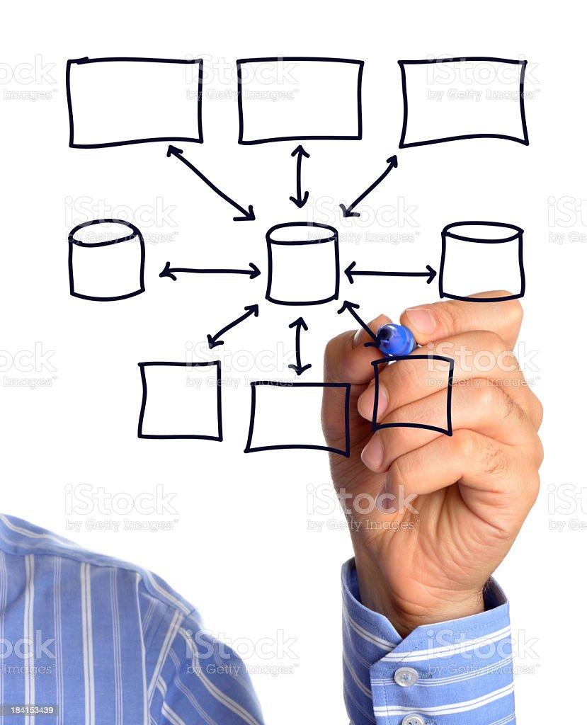 Diagram drawn by a businessman stock photo