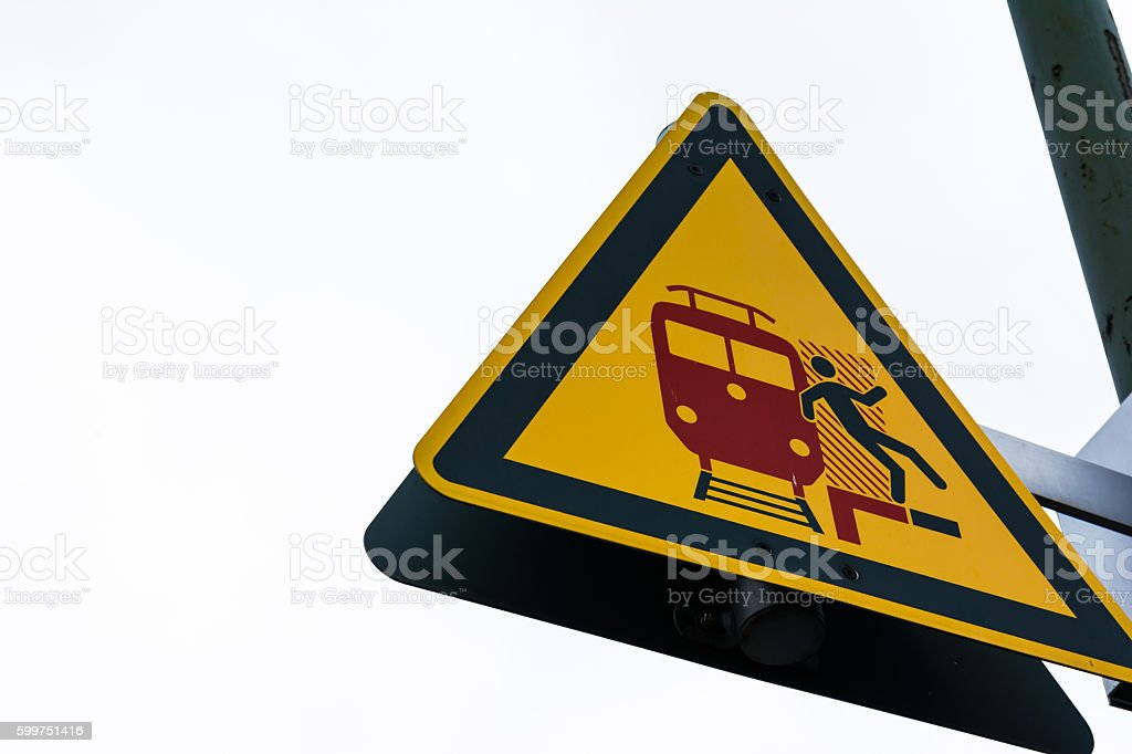 Diagram Man Fall Backwards Train Tracks Warning Caution SIgn stock photo