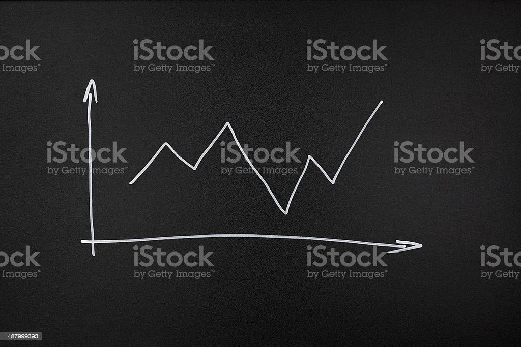 diagram moving up on blackboard stock photo