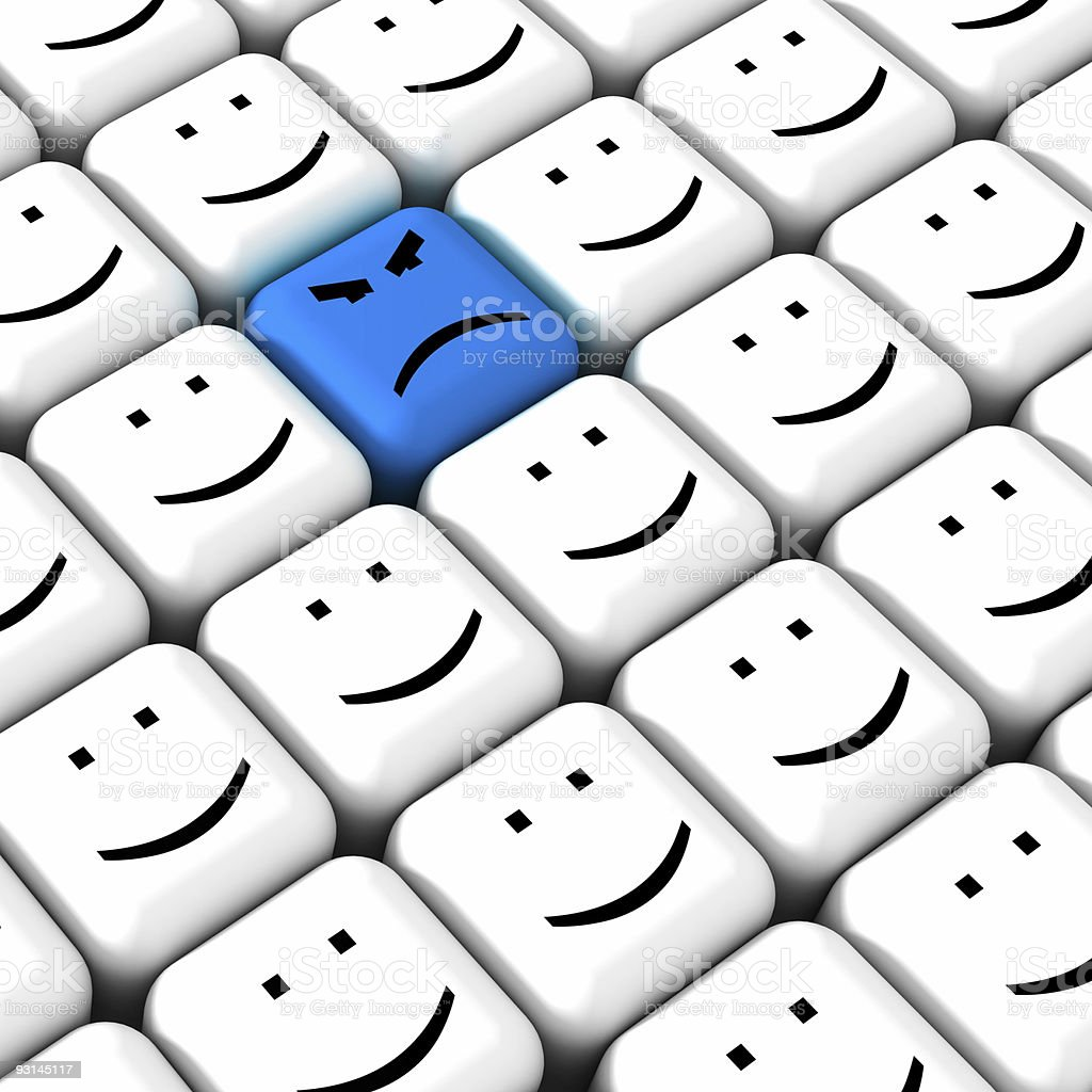 Diagram of blue grumpy face surrounded by smiley faces stock photo