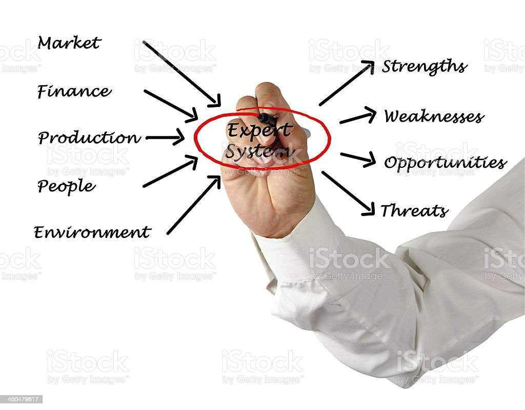Diagram of expert system stock photo