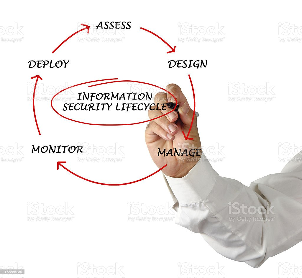 Diagram of information security lifecycle royalty-free stock photo