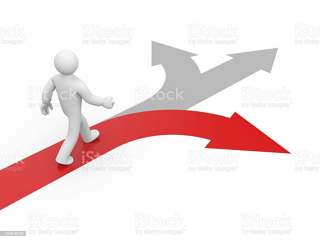 Diagram of someone choosing the right direction stock photo