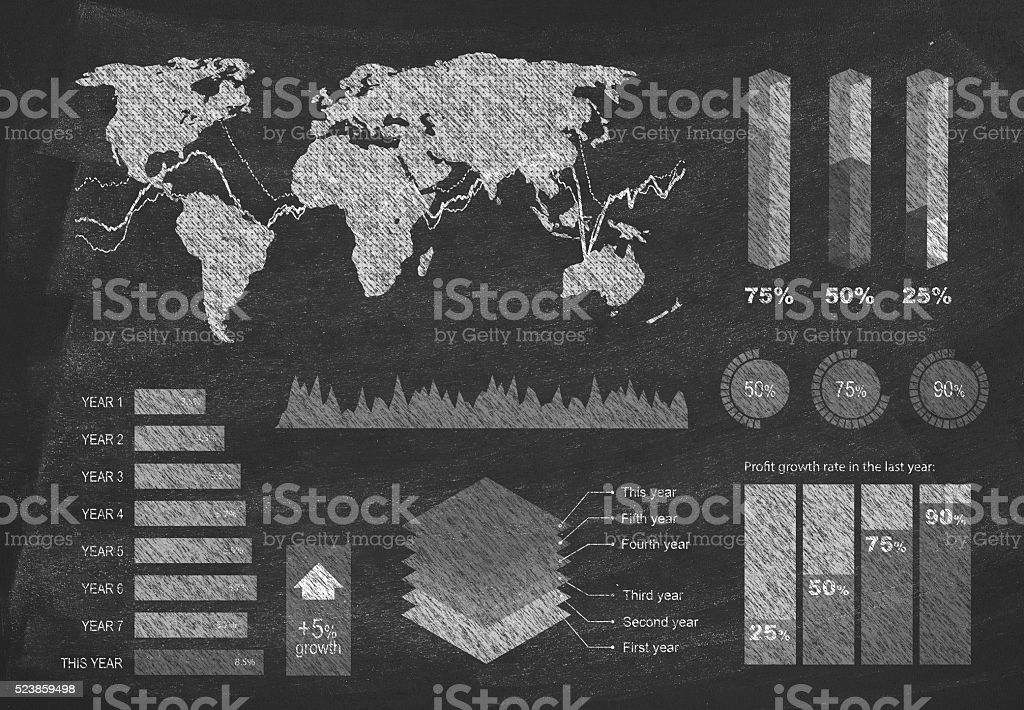 Diagram on blackboard stock photo