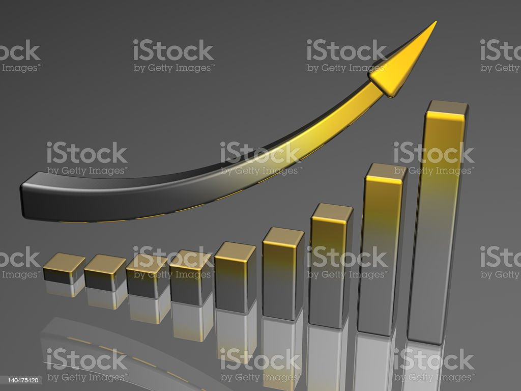 A diagram showing business success with an arrow royalty-free stock photo