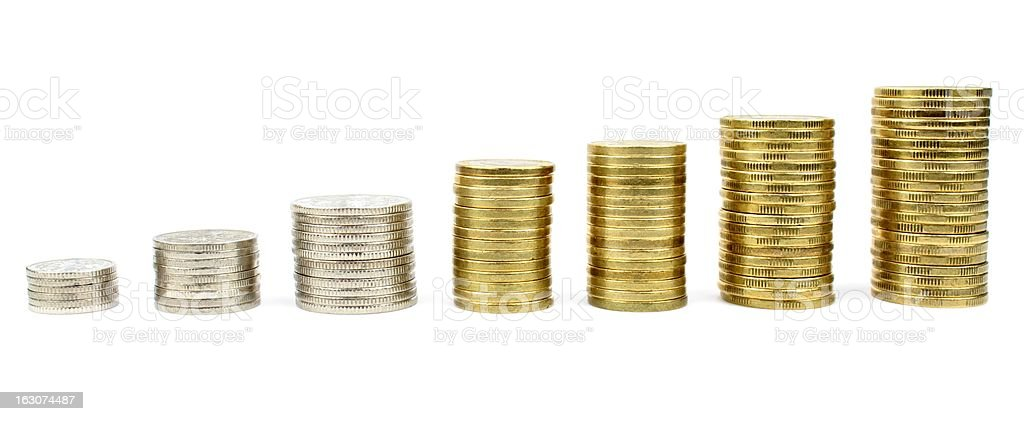 Diagram with stacked coins royalty-free stock photo