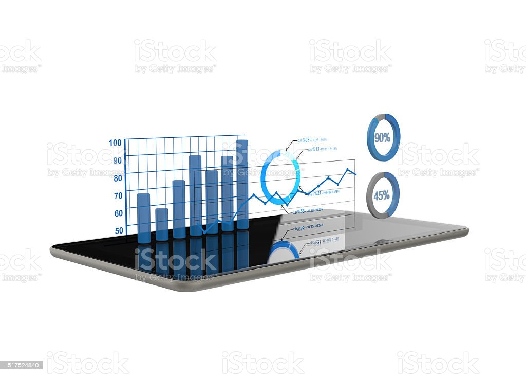 Diagrams and charts projecting from tablet stock photo