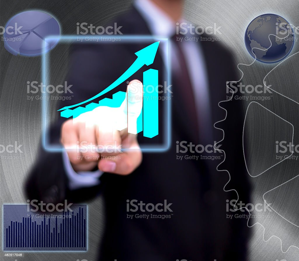 Diagrams, charts and maps on whiteboard stock photo