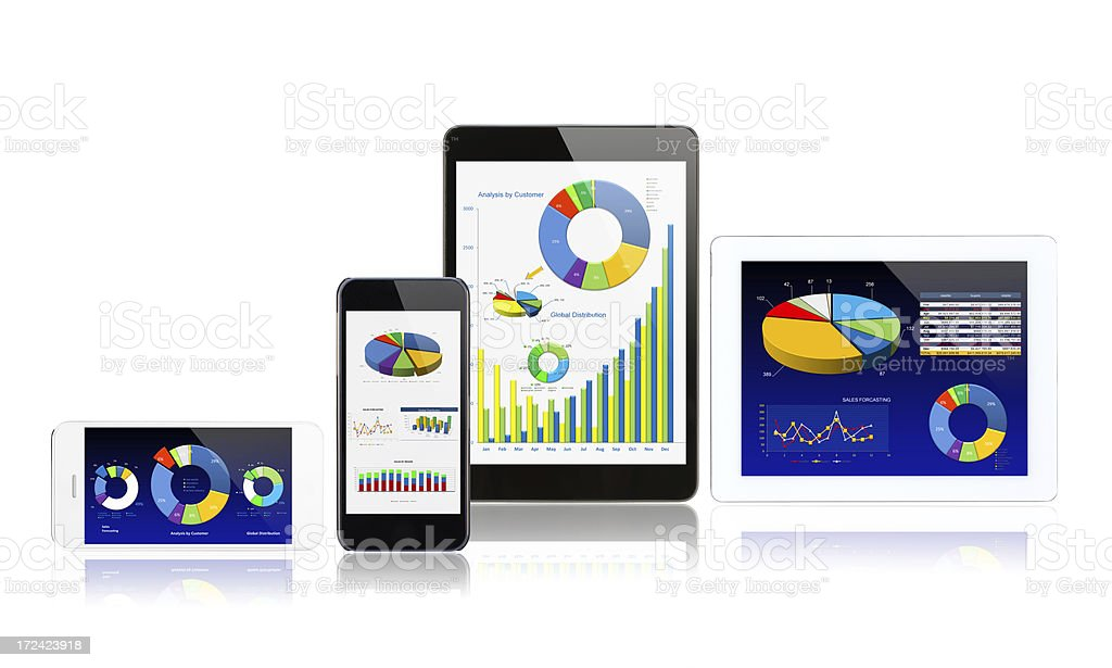 Diagrams on digital devices royalty-free stock photo