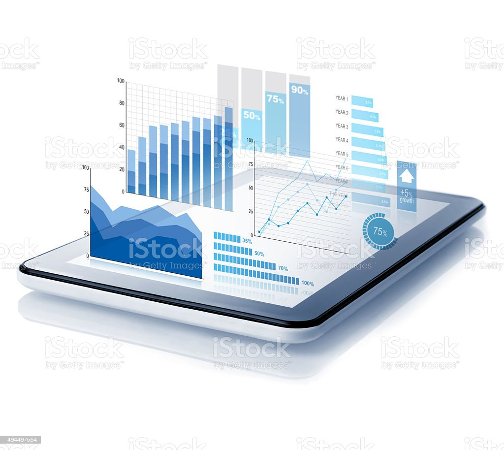 Diagrams projecting from tablet stock photo
