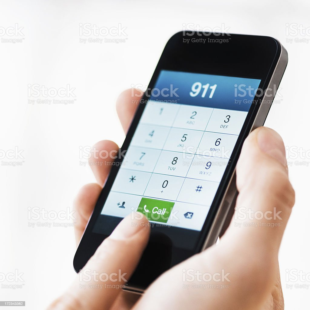 Dial 911 on Smart Phone stock photo