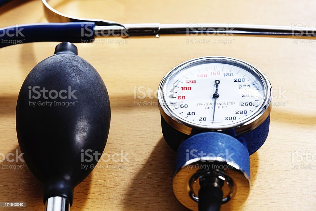 Dial and squeeze-bulb of a blood pressure gauge stock photo