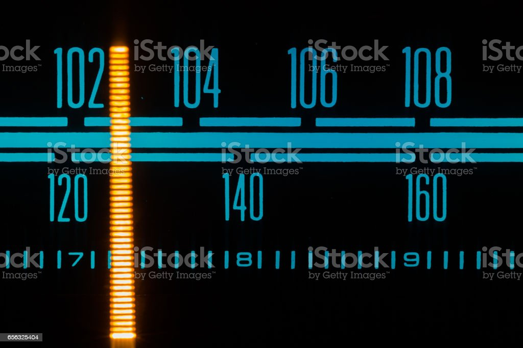 Dial Pointer Of Vintage Stereo Tuner stock photo