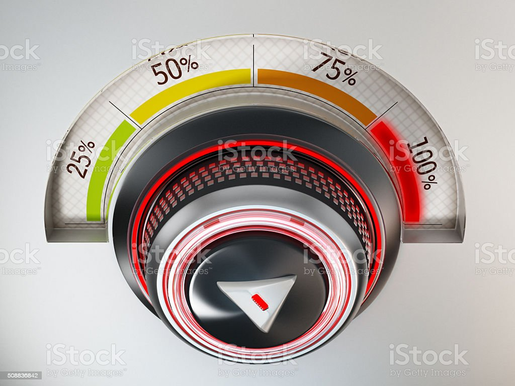 Dial pointing 100% emits green light stock photo
