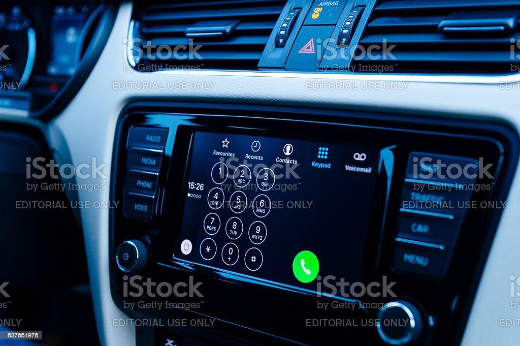 Dialpad in Apple CarPlay dashboard stock photo