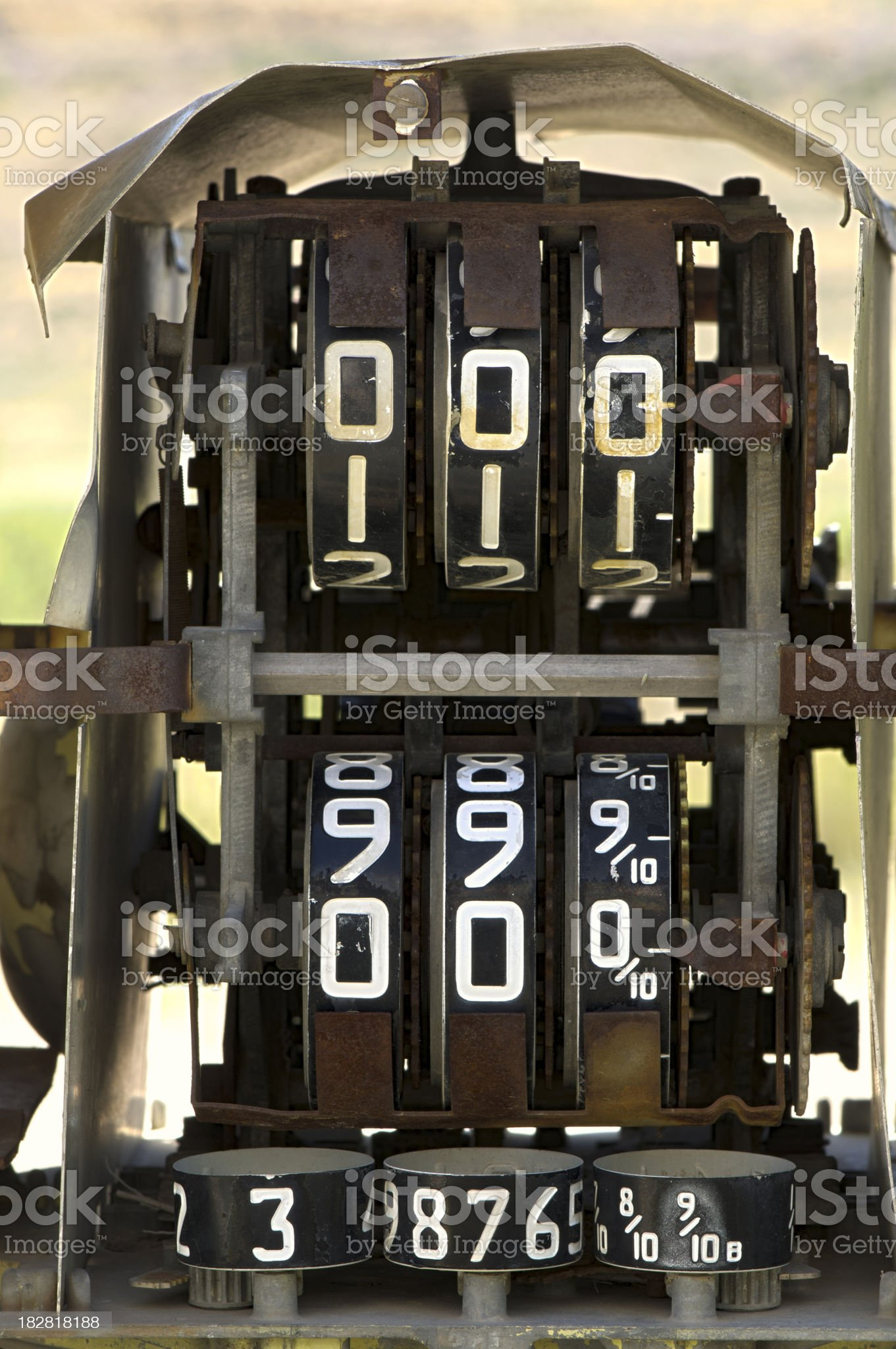 Dials and DIgits on a Classic Abandoned Gas Pump royalty-free stock photo