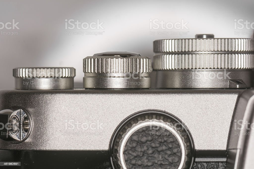 Dials on top of camera stock photo