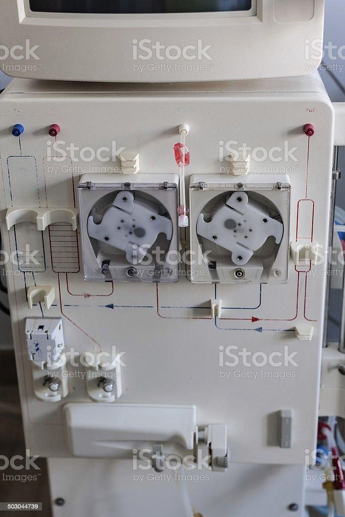 Dialysis machine closeup stock photo