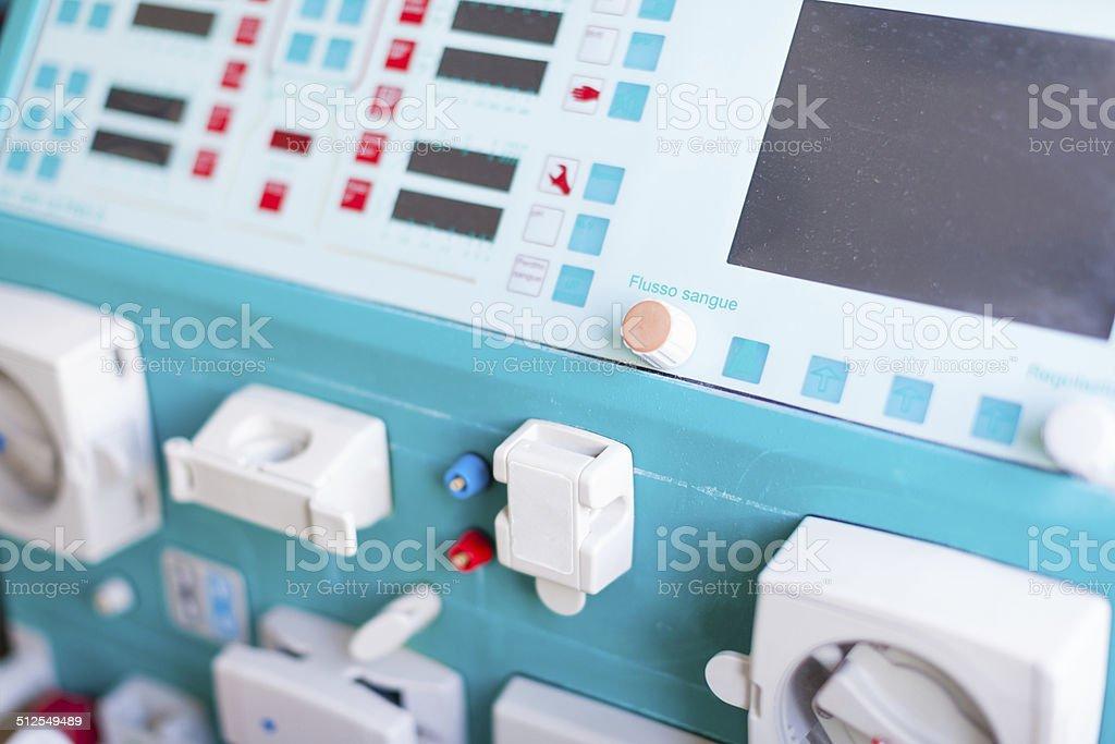 Dialysis machine panel stock photo