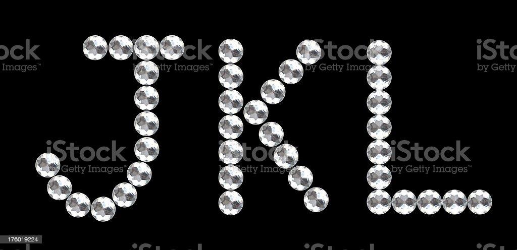 diamond alphabet JKL royalty-free stock photo