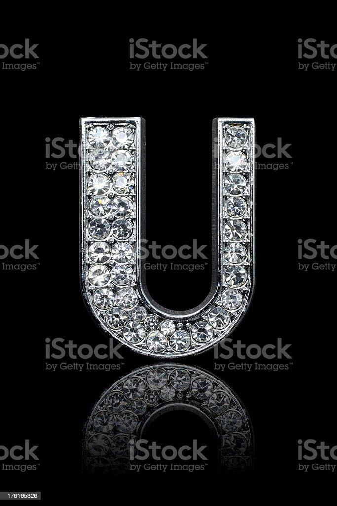 Diamond Alphabet U royalty-free stock photo