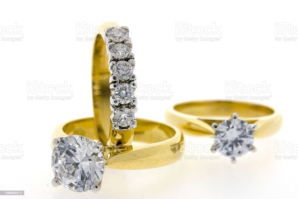 Diamond and engagement rings stock photo