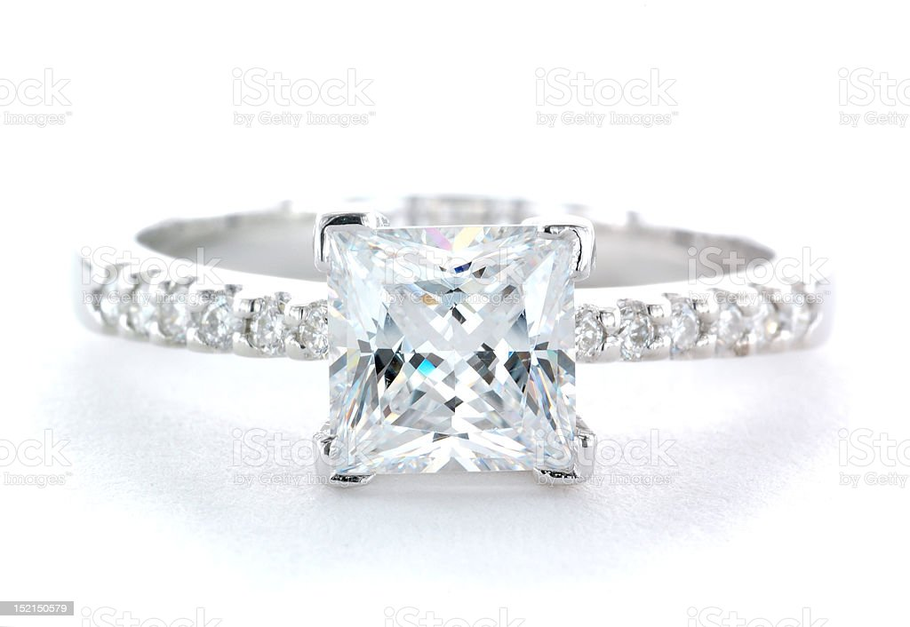 A diamond and platinum wedding ring designed for a woman royalty-free stock photo