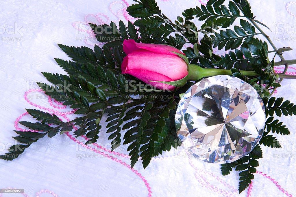 Diamond and Rose stock photo