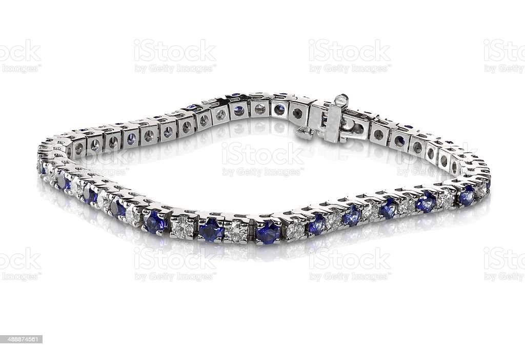 Diamond and Sapphire Tennis Bracelet stock photo
