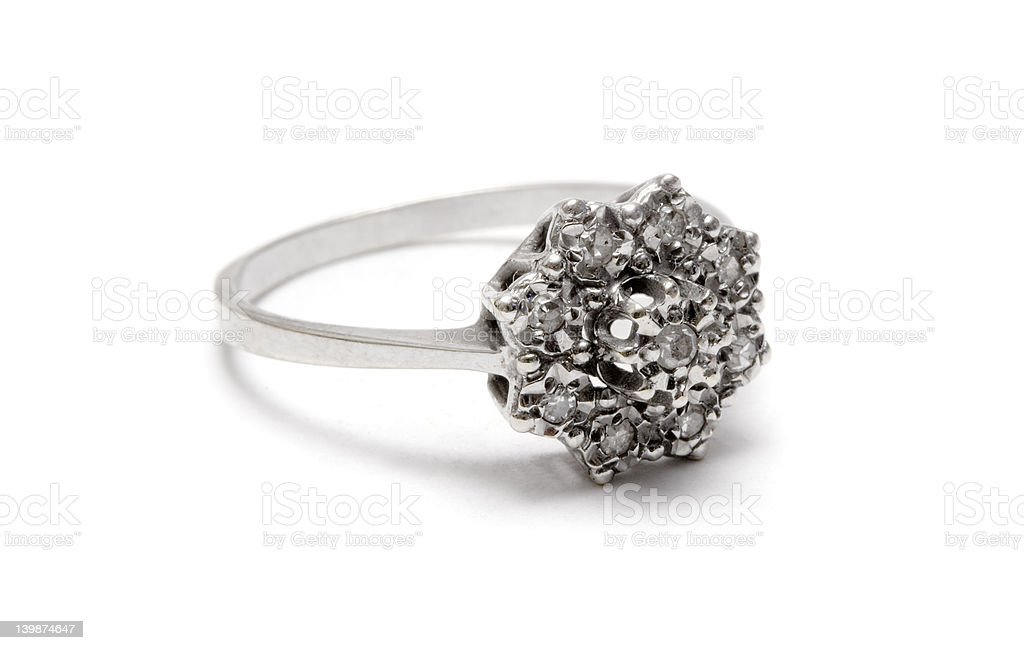 Diamond Blossom Silver Ring - Macro stock photo