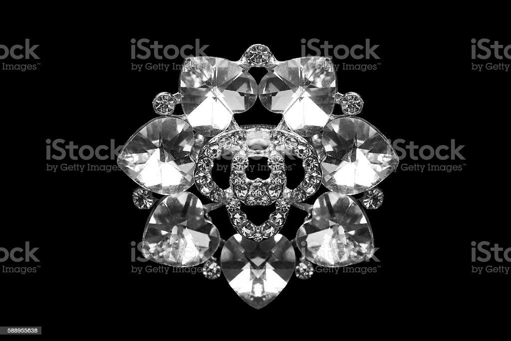 Diamond brooch isolated stock photo