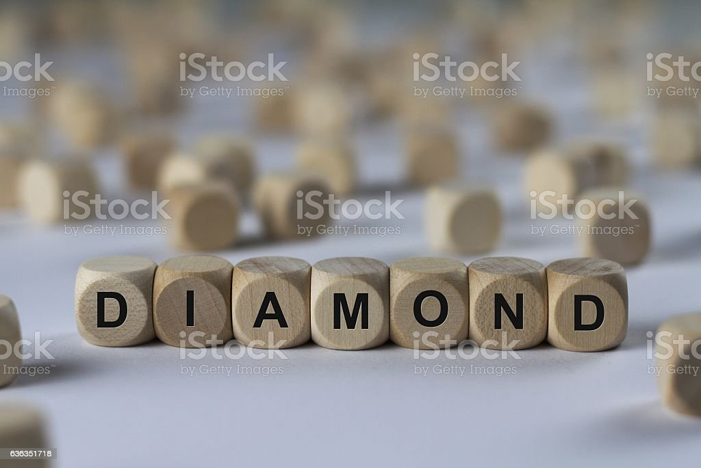diamond - cube with letters, sign with wooden cubes stock photo