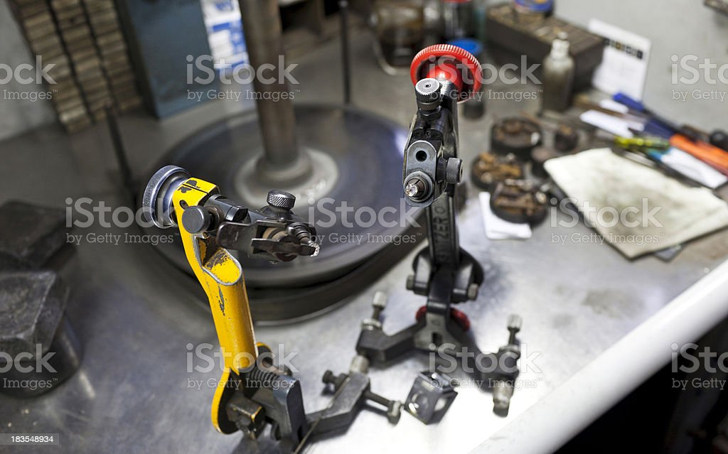 Diamond cutting table with tools stock photo