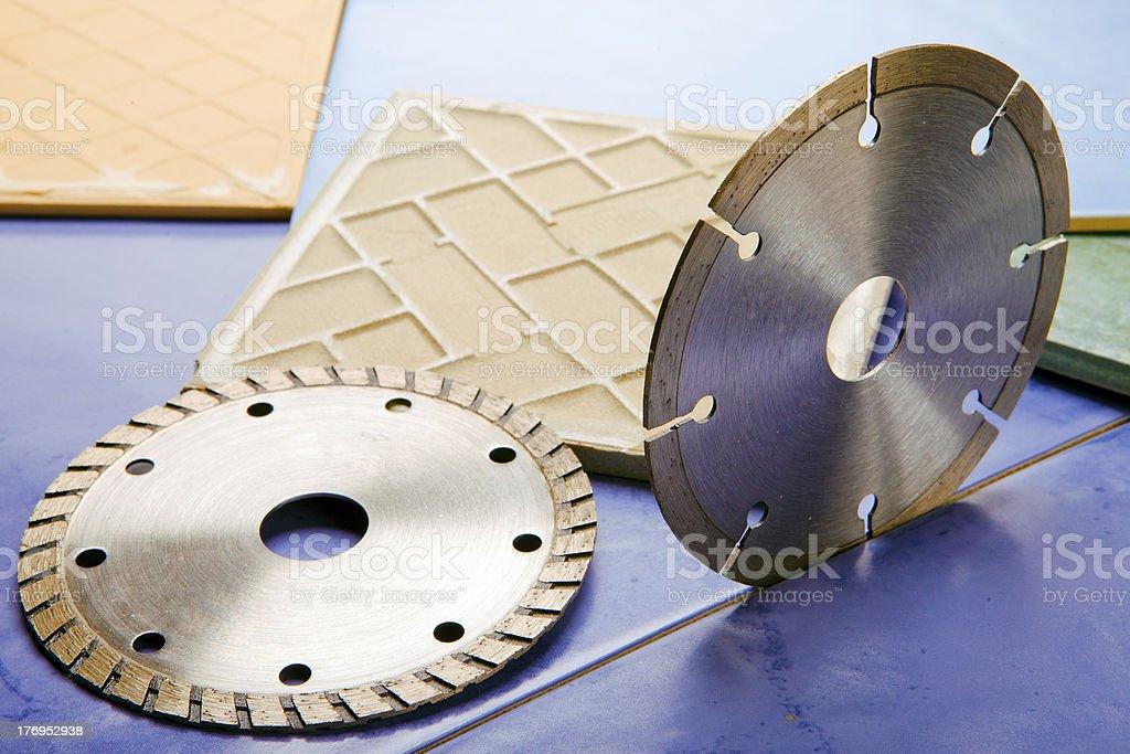 Diamond discs for cutting of tile royalty-free stock photo