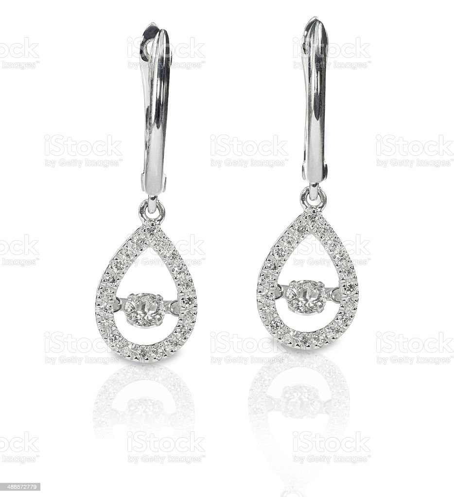 Diamond Drop Halo earrings stock photo