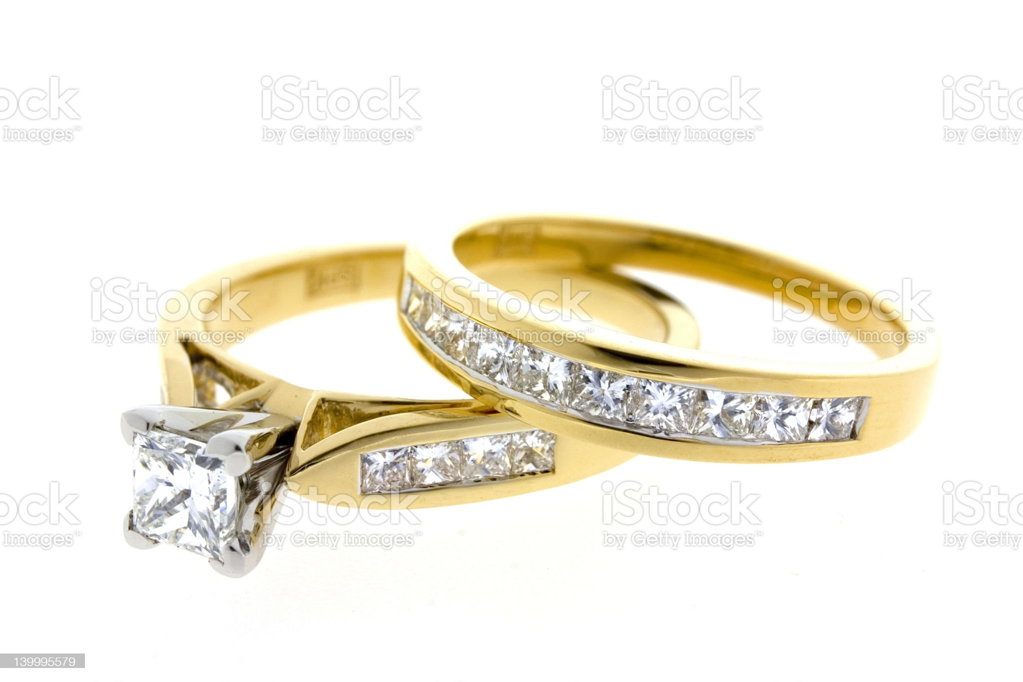 Diamond Engagement and wedding ring royalty-free stock photo