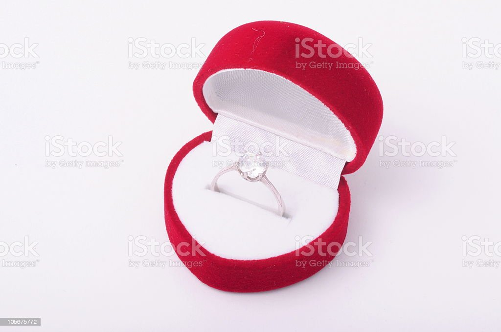 diamond engagement ring in a red box royalty-free stock photo