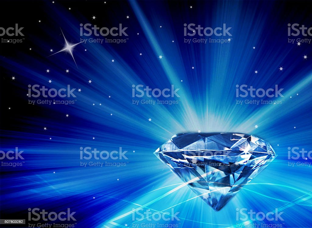 Diamond Galaxy - Stars - Bursts of Blue Light stock photo