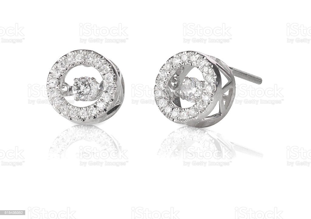 Diamond Halo floating stud earrings stock photo