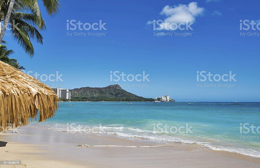 Diamond Head and Waikiki Beach on Oahu, Hawaii stock photo