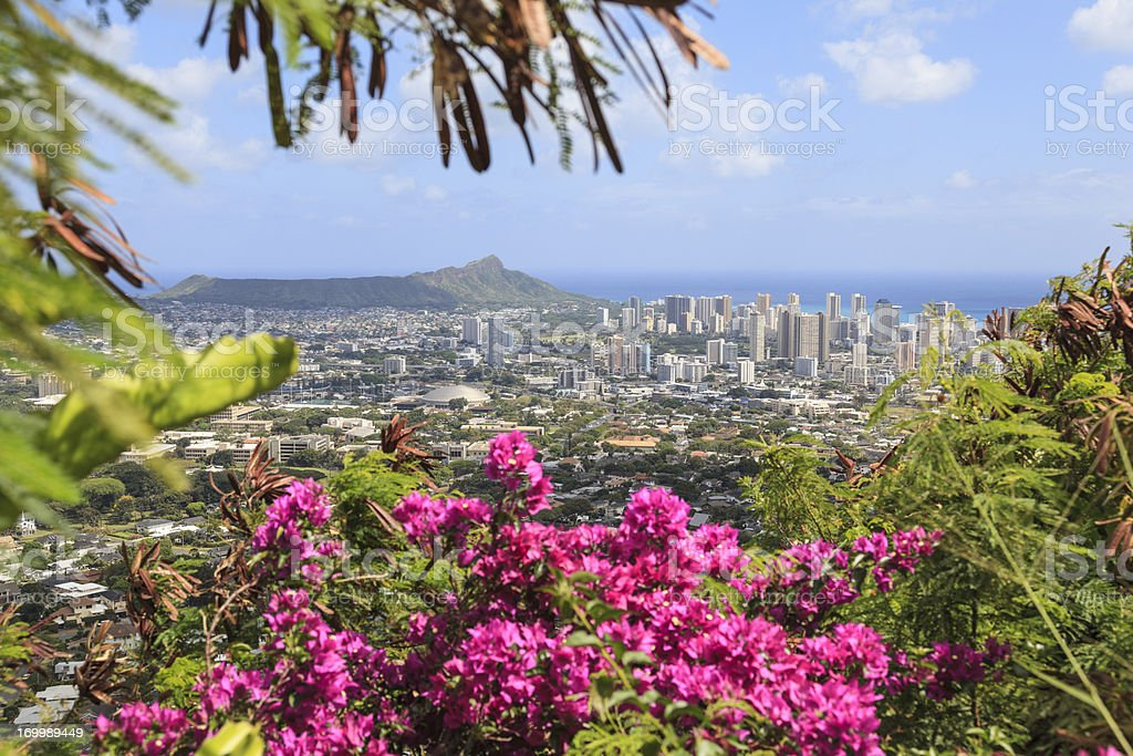 Diamond Head and Waikiki, Oahu, Hawaii stock photo