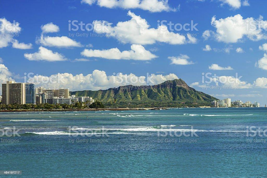 Diamond Head and Waikiki stock photo