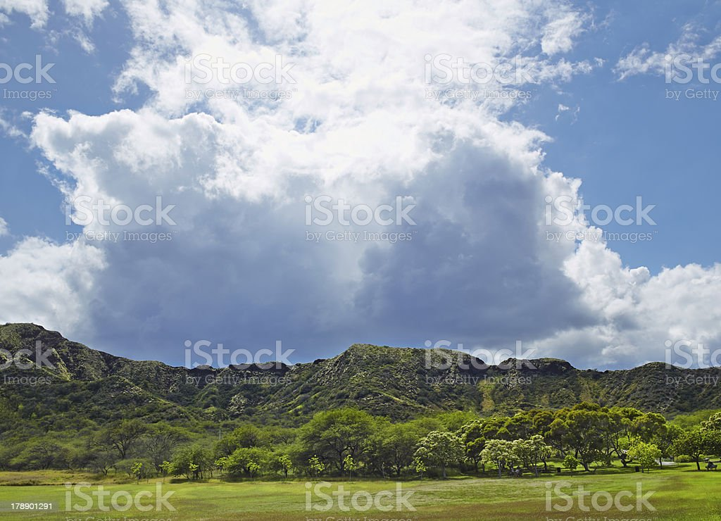 Diamond Head Crater With Clouds Looming Overhead royalty-free stock photo
