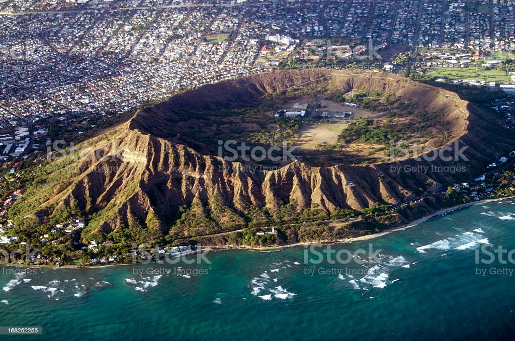 Diamond Head, Oahu, Hawaii aerial view into crater stock photo