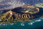 Diamond Head, Oahu, Hawaii aerial view into crater