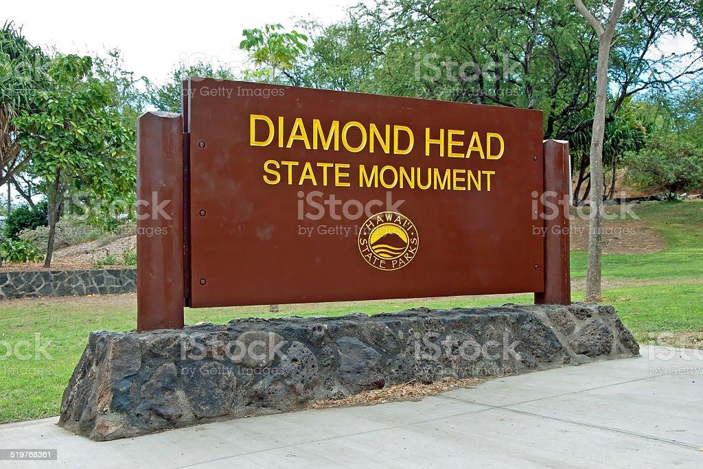 Diamond Head State Monument Park Sign close Honolulu Oahu Hawaii stock photo