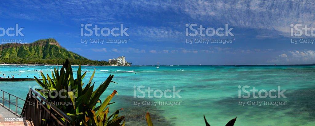 Diamond Head - Waikiki Beach stock photo