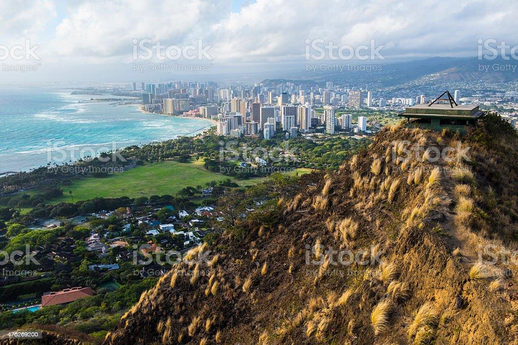 Diamond Head Waikiki Honolulu stock photo