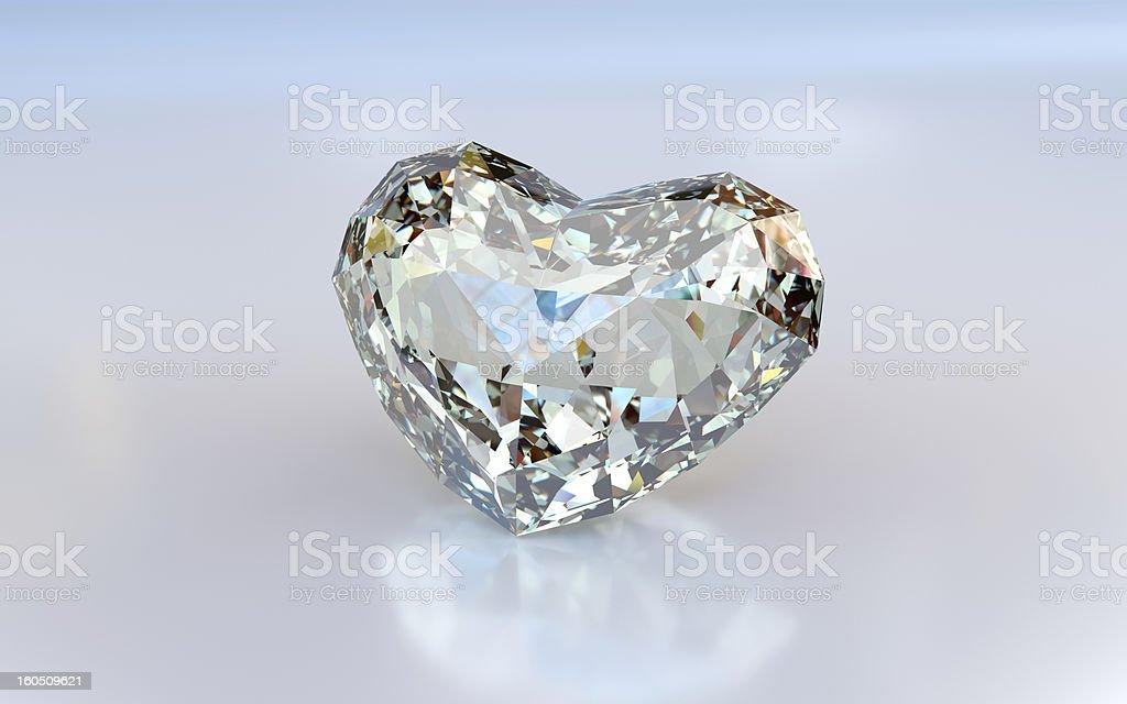 Diamond heart on white background royalty-free stock photo